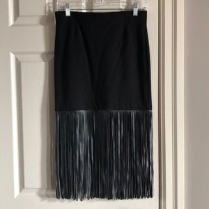 Black leather fringe skirt